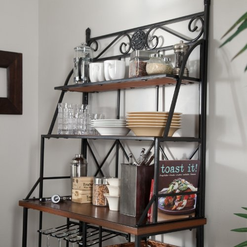 Metal Bakers Rack with Wine Storage, Wine Glass Storage and 2 Pull-out Storage Baskets by Belham Living (Image #2)