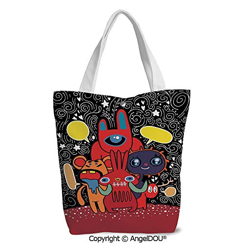 Fashion Printed Shoulder Canvas Shopping Bag Monster City Theme Funny -