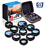 BPSMedia® 10 in 1 HD High Quality Mobile Phone Camera Lens Kit - 198° Fisheye Lens - 0.63X Super Wide Angle Lens - 15X Macro Lens - 2X Telephoto Lens - CPL Lens - Kaleidoscope and much more - Universal Clip On Cell Phone Lens for iPhone, Samsung & Most Smartphone