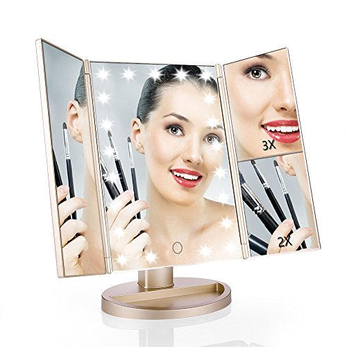 Easehold Vanity Makeup Mirror with 2 X 3X Magnifiers 21 LED Lights Tri-Fold 180 Degree Adjustable Countertop Cosmetic Bathroom, Gold Panel Folding Bath Screen