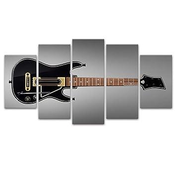 Loiazh - 5 Partes - Imagen Impresa En Lienzo - Imagen En Arte De Pared - Cuadro En Lienzo Tejido- Sin Marco - Guitarra Electrica 55x22 45x20x2 35x20x2(cm): ...