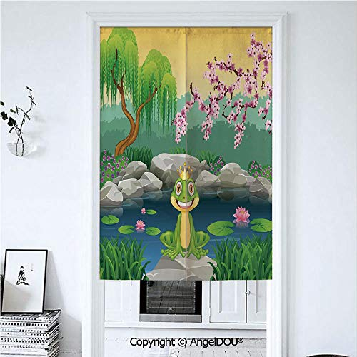 AngelDOU King Printed Good Fashion Fun Door Curtains Fairytale Inspired Cute Little Frog Prince Near Lake on Moss Rock with Flowers Image for Bathroom Kitchen Door Windows Valances. 39.3x59 inches