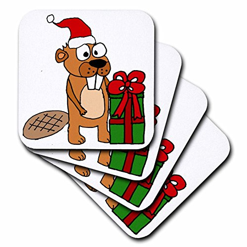 - 3dRose All Smiles Art Christmas - Cute Funny Beaver opening Christmas Gifts Cartoon - set of 4 Ceramic Tile Coasters (cst_265074_3)