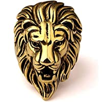 StoresHub Stainless Steel Roaring Lion Head Unique Design Ring for Men and Boys In Golden & Silver Colors