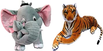 Agnolia Kids Gallery Stuffed Soft Animal Toy for Kids /Birthday Kid/Boy/Girl Combo of Mother Elephant with 2 Babies and Tiger - 31 cm