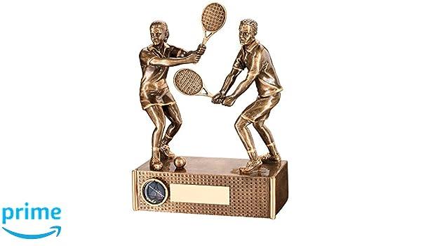 Tenis trofeo - Mixed Doubles en bronce y dorado Color resina: Amazon.es: Deportes y aire libre