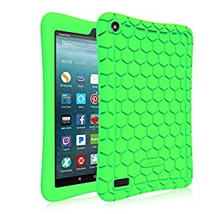 Fintie Silicone Case for All-New Amazon Fire 7 Tablet (7th Generation, 2017 Release) - [Honey Comb Upgraded Version] [Kids Friendly] Light Weight [Anti Slip] Shock Proof Protective Cover, Green