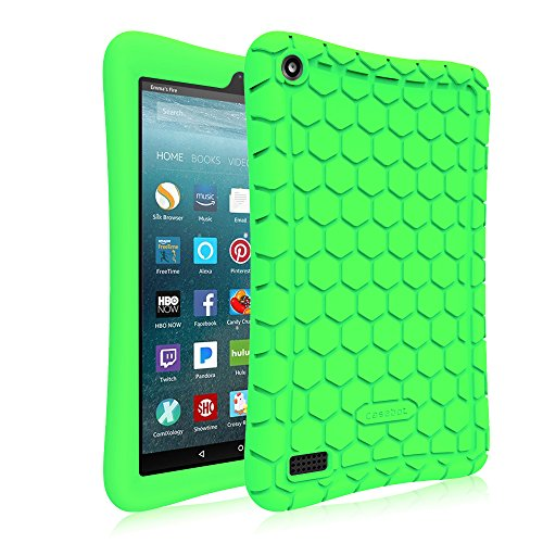 Slip Protective Cover Anti (Fintie Silicone Case for All-New Amazon Fire 7 Tablet (7th Generation, 2017 Release) - [Honey Comb Upgraded Version] [Kids Friendly] Light Weight [Anti Slip] Shock Proof Protective Cover, Green)