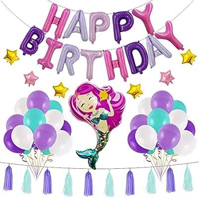 BESTOYARD condecoraciones de cumpleaños Tema Sirena florete ...