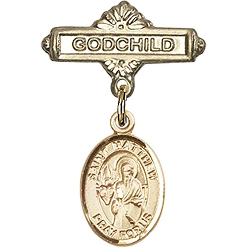 14kt Yellow Gold Baby Badge with St. Matthew the Apostle Charm and Godchild Badge Pin 1 X 5/8 inches by Bonyak Jewelry Saint Medal Collection