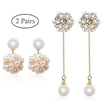 Fresh Water Pearl Drop Silver Earrings Set With Cubic Zirconias Hook Fitting