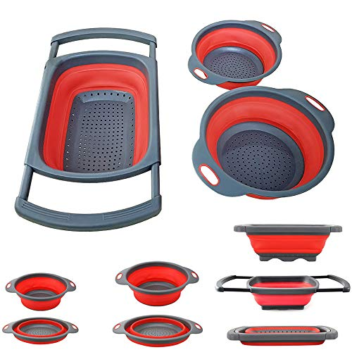 Collapsible Colander - Over the kitchen sink strainer - Silicone Kitchen Strainer Set of 3-6 quart,3 Quart and 2 Quart for Draining Pasta, Vegetable and Fruit (Red) - 3 Collapsible Quart