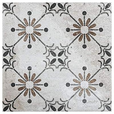 "SomerTile FKX8TOB Elda Ceramic Floor and Wall, 7.75""x7.75"", Beige Tile, Grey,Brown,Black, 25 Piece"