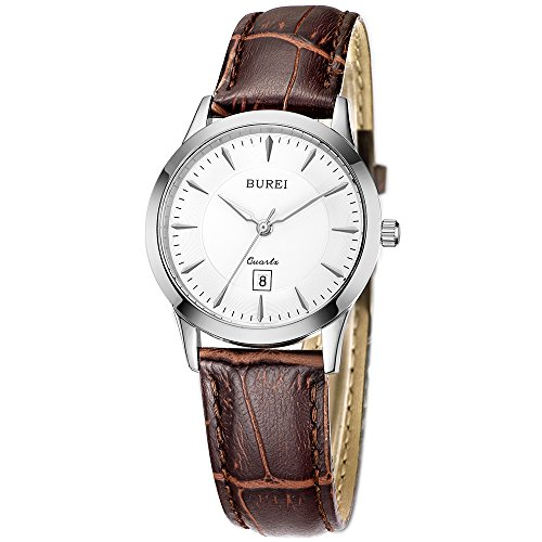 Stainless Steel Sapphire Crystal (BUREI Womens Classic Quartz Watches with Silver Case Stainless Steel Case sapphire crystal Brown Leather Band)