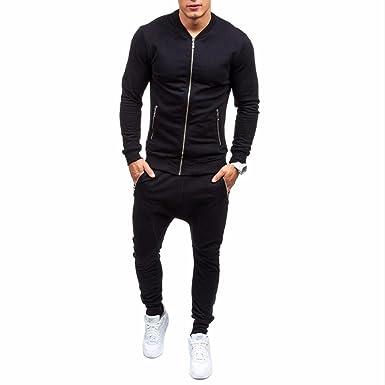 fdceceaa97a9 HOMEBABY Men Black Fleece Sport Hooded Sweatshirt Pants Sets