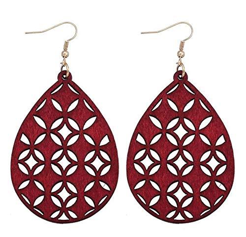 stylesilove Women Lightweight Bohemian Wooden Teardrop Cut-Out Dangle Earrings (Burgundy) ()
