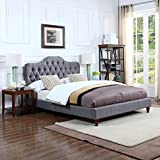 Divano Roma Furniture Classic Grey Tufted Fabric Low Profile Bed Frame (Full)