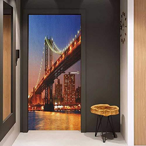(Toilet Door Sticker New York Manhattan Bridge with Cityscape Over Hudson River Brooklyn Popular Town Image Glass Film for Home Office W31 x H79 Blue Orange )