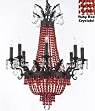 "Moroccan Style French Empire Crystal Chandelier Chandeliers H32"" W25"" - Dressed with Ruby Red Crystals! Perfect for Dining Room / Entryway / Foyer / Living Room! With Dark Antique Finish"