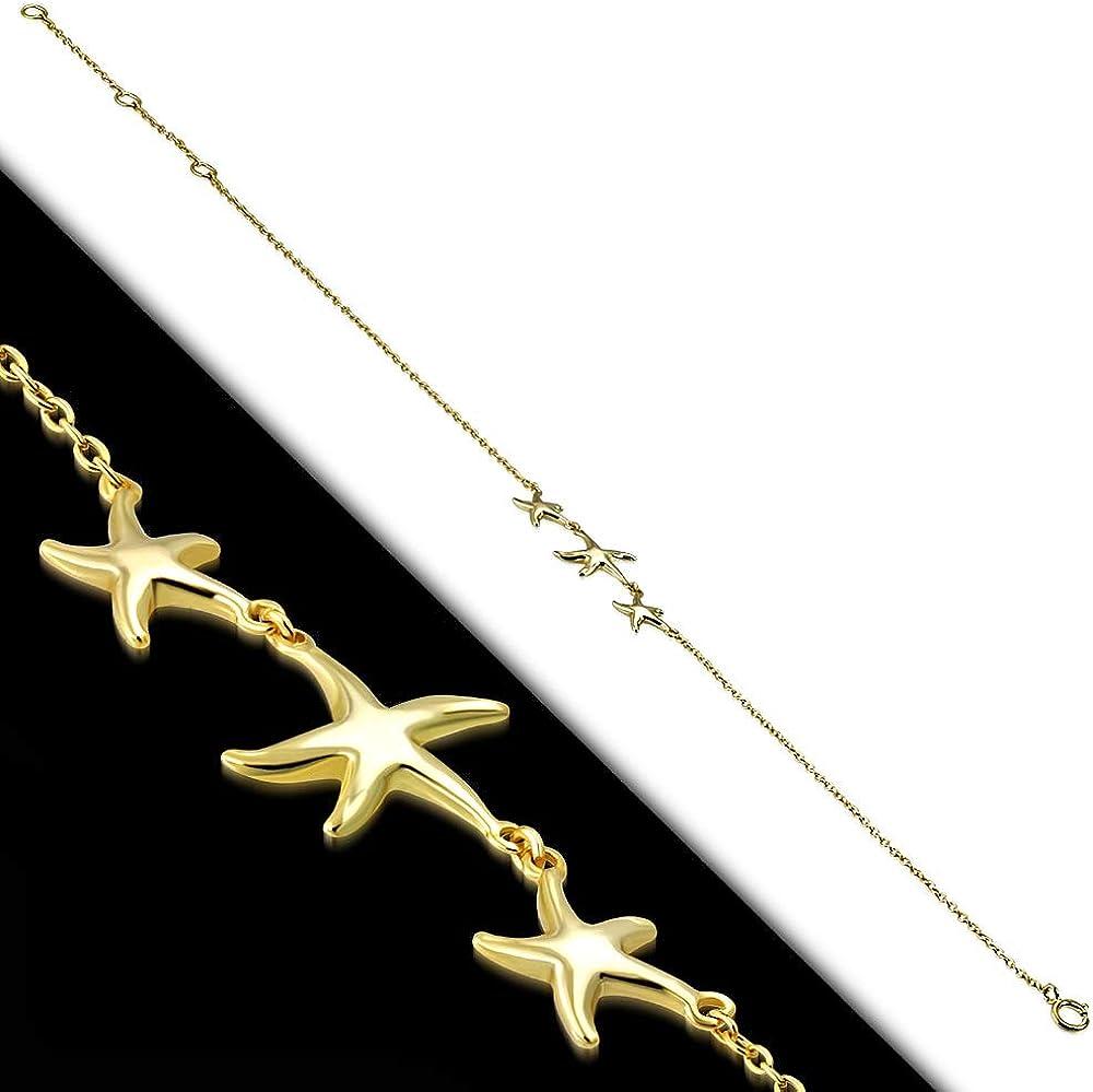 925 Sterling Silver Three Triple Starfish Anklet Bracelet