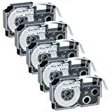 GREENCYCLE 5 Pack Compatible Casio XR-12WE Black on White Label Tape 1/2''(12mm) x 26' (8m) for KL-60 KL-60SR KL-C500 KL-100 KL-120 KL750KR Label Printer