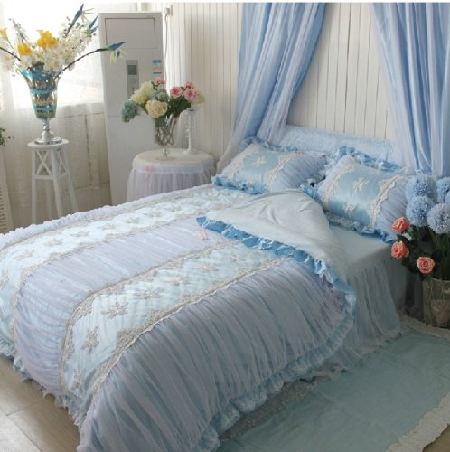 FADFAY Home Textile,Korean Beautiful Bedding Set,Princess Blue Lace Ruffle Embroidery Duvet Cover Bedding Sets,Girls Luxury Bedding Set