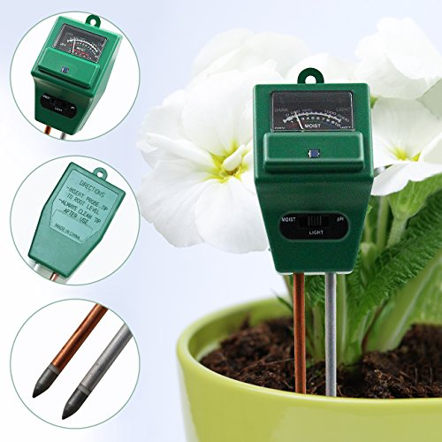 VATNTAKOOL 3-in-1 Soil Moisture Meter, Light and pH / acidity Meter Plant Tester for Houseplants, Outdoor Plants, Bonsais, Succulents, Trees, Grass and Lawn (No Battery Required) (House Plant Bonsai)