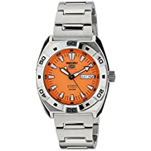 Seiko 5 Sports Stainless Steel Case and Bracelet Orange Dial Day and Date Displays