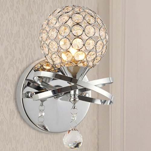 E12 E14 Modern Luxury Crystal Bathroom wall Sconce Lighting Metal Fixture