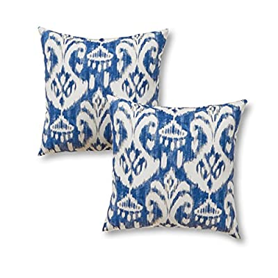 "Greendale Home Fashions 17"" Outdoor Accent Pillows in Coastal Ikat (Set of 2), Azule - Set includes two 17-inch square accent pillows 100% polyester, UV-resistant outdoor fabric Poly fiber fill made from 100-percent recycled, post-consumer plastic bottle - patio, outdoor-throw-pillows, outdoor-decor - 51oAGLS0eFL. SS400  -"