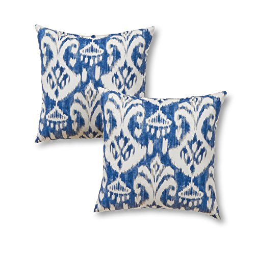 "Greendale Home Fashions 17"" Outdoor Accent Pillows in Coastal Ikat (Set of 2), Azule"