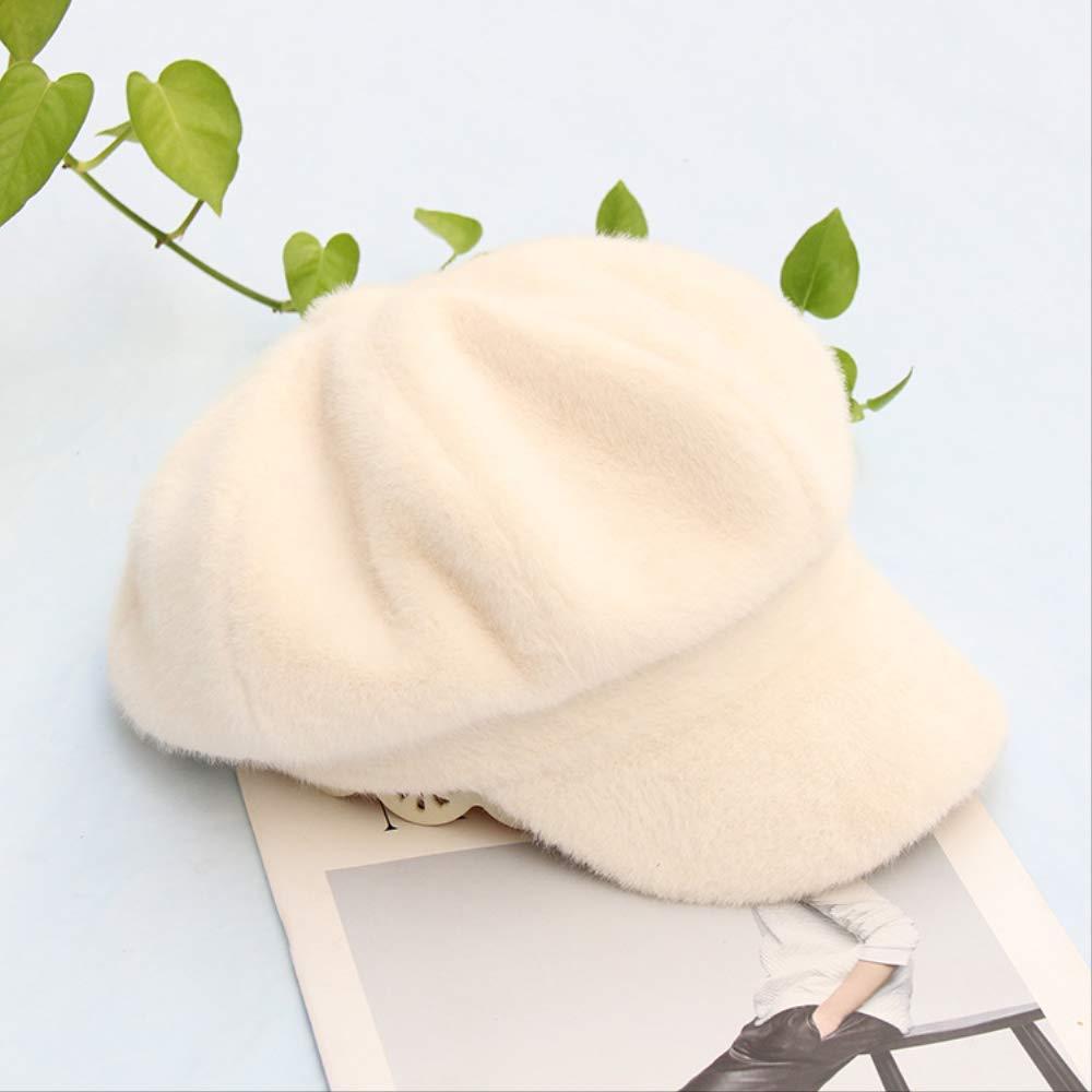 HAT Newsboy Cap Visor Beret Boina de Piel de vis/ón Sombrero Femenino Sombrero de Vendedor de peri/ódicos