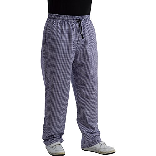 Chefs Blue & White Polycotton Checked Trousers with Elasticated Waist - Chef Checked Pants