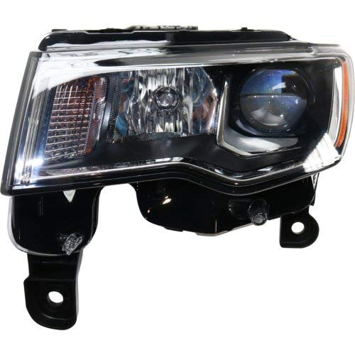 Headlight Compatible with JEEP GRAND CHEROKEE 2017-2019 LH Assembly Halogen Chrome Trim Standard Type - Jeep Cherokee Chrome Headlight Trim