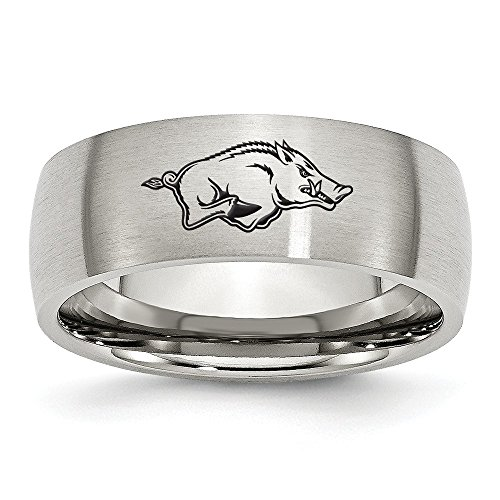 (Jewel Tie Size 10.5 - Stainless Steel University of Arkansas Laser Etch Ring (8mm))