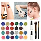 Glitter Tattoo Kit,Temporary Tattoos Face painting Make Up Body Glitter Body Art Design For Kids Teenager Adult,Halloween,With 24 Colour Glitter,108 Sheet Uniquely Themed Tattoo Stencil