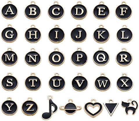 51個 ミックス 合金ペンダント ゴールド&ブラック フラットラウンド・三角形・ハート・惑星・猫・音符 アルファベット付き 合金エナメルチャーム アクセサリーパーツ ジュエリー用 オーナメント 穴あり DIY ハンドメイド 手作り素材