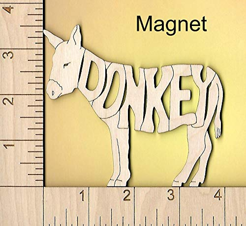 Donkey Mule laser cut and engraved wood Magnet ()