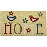 JVL Novelty Modern Red Blue White Home Birds Coloured PVC Backed Natural Coir Entrance Floor Door Mat, 40 x 70 cm by JVL