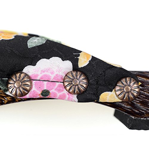 Japanese Black Floral Flops Flip Women's Jiyaru Slippers Sandals Wood Clog Flats vwqfPT8gS
