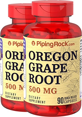 Piping Rock Oregon Grape Root 500 mg 2 Botltes x 90 Quick Release Capsules Dietary Supplement (Oregon Tincture Grape)