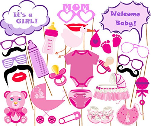 1920s Costume Ideas Diy (It's A Girl Baby Shower Party Photo Booth Props Kits on Sticks Set of 26pcs)