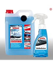 SONAX AntiFrost & KlarSicht środek do czyszczenia szyb, 5 l, odmrażacz do szyb 500 ml