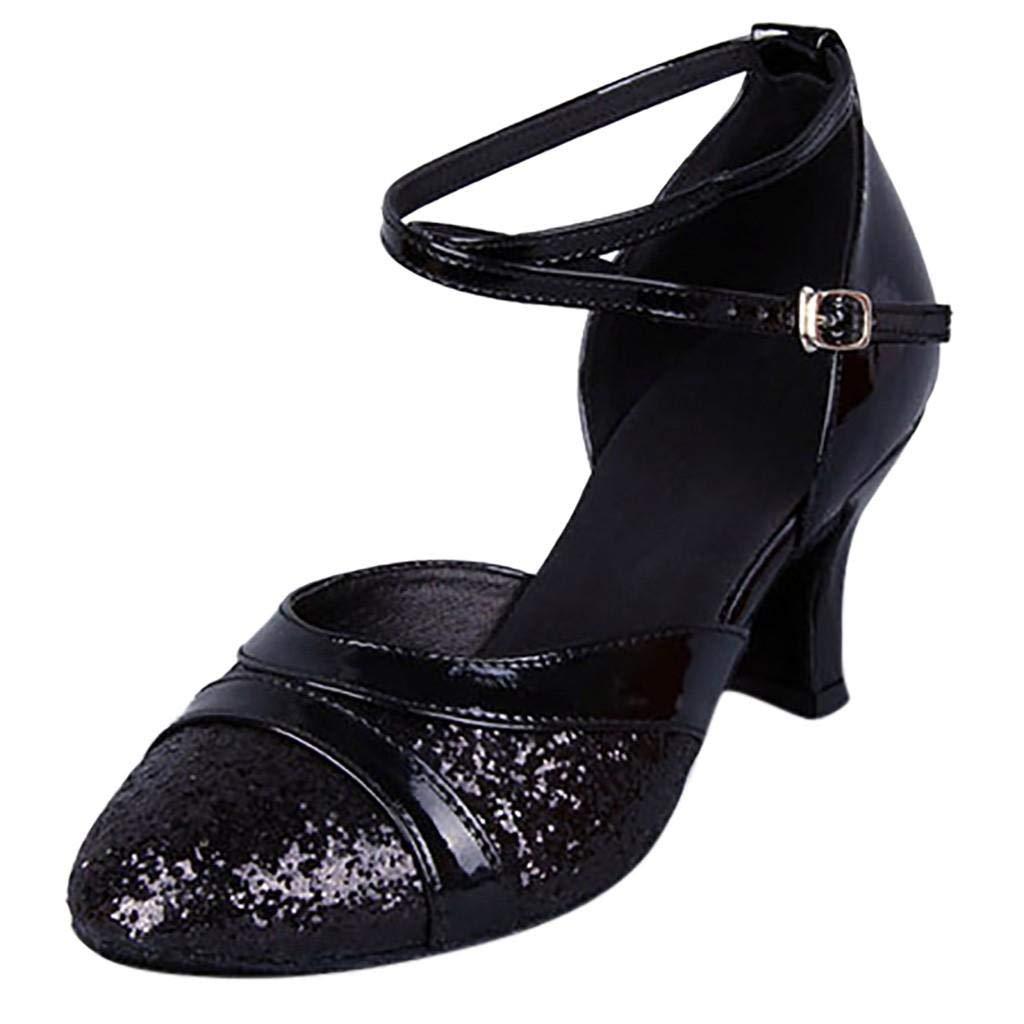 Lazzboy Dance Shoes Mid-High Heel Glitter Sparkly Sequin Women Ladies Buckle Ballroom Latin Tango Rumba