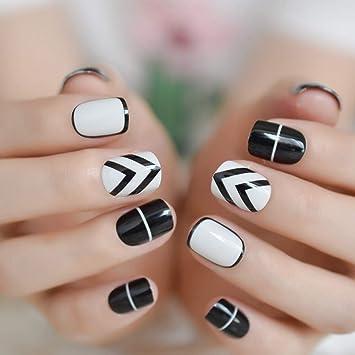 EchiQ 24 uñas postizas de color blanco y negro, uñas de arte ...