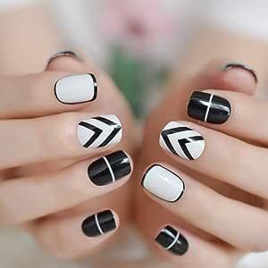 EchiQ 24 uñas postizas de color blanco y negro, uñas de