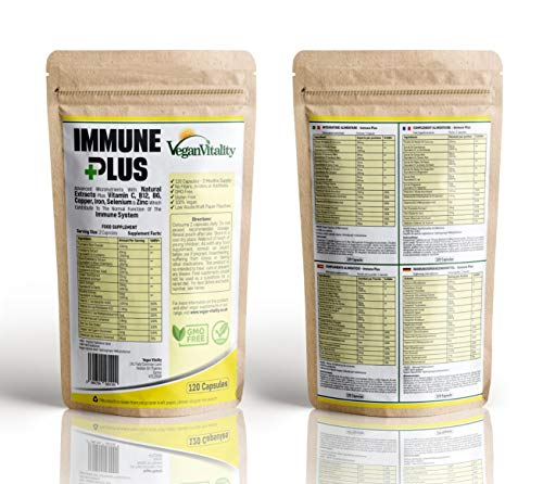 Immun Plus - Vitamine immunsystem stärken mit 14 Vitamine & natürliche Extrakte - enthaltene Vitamin C, Zink, Kurkuma, Selen, Ingwer, Cranberry, Holunder, Knoblauch, Vitamin B12 & Vitamin B6