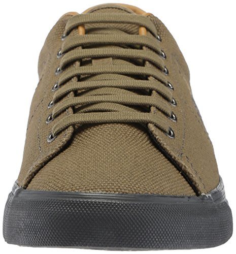 Fred Perry Mens Underspin Pesante Tela Cerata Sneaker Oliva Scuro