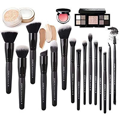 Zoreya Makeup Brushes Set 15Pcs Synthetic Cruelty Free Bristles Foundation Powder Blush Cosmetic Brushes