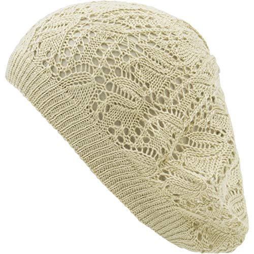 (an Womens Beige Leaf Pattern Cut Out Net Beanie Beret Hats )